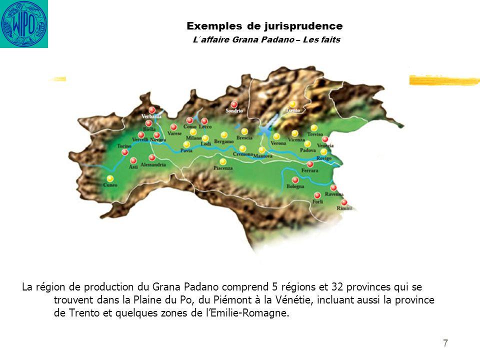 8 Exemples de jurisprudence L´affaire Grana Padano – Les faits La date qui par convention marque le début de lhistoire du Grana Padano est 1135, année de la fondation de labbaye de Chiaravalle, par les moines Cisterciens qui suivaient la règle de saint Benoît.