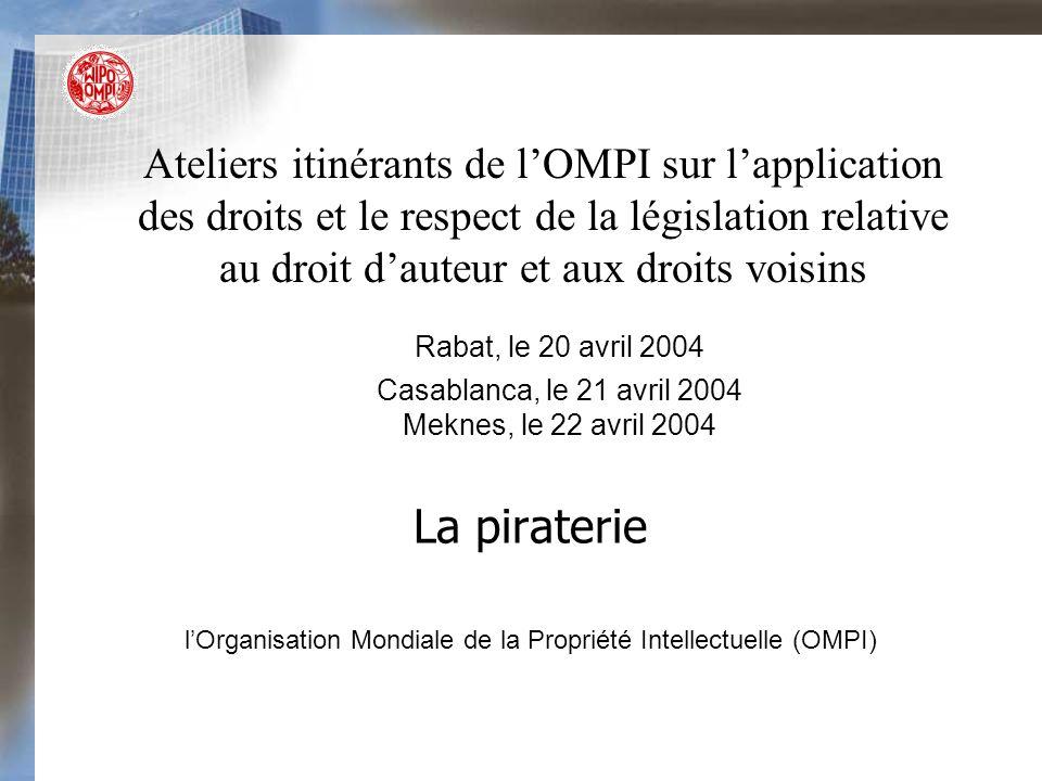 La piraterie Ateliers itinérants de lOMPI sur lapplication des droits et le respect de la législation relative au droit dauteur et aux droits voisins