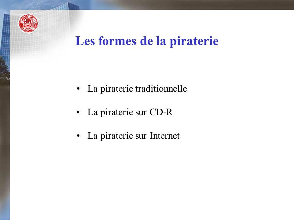 Les formes de la piraterie La piraterie traditionnelle La piraterie sur CD-R La piraterie sur Internet
