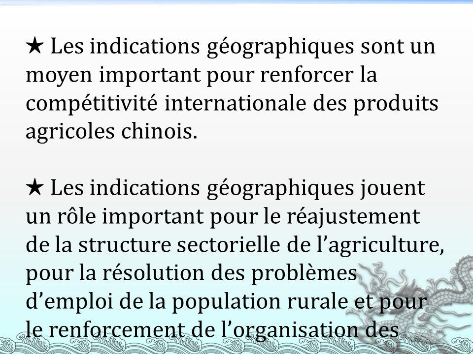 Les indications géographiques sont un moyen important pour renforcer la compétitivité internationale des produits agricoles chinois. Les indications g