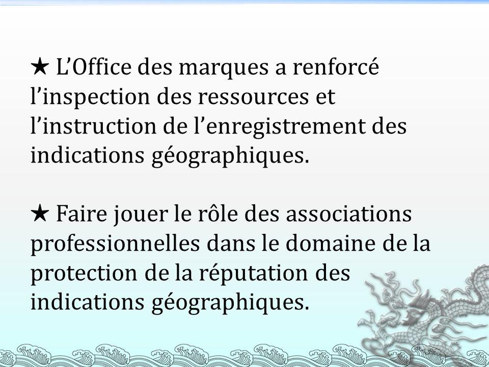 LOffice des marques a renforcé linspection des ressources et linstruction de lenregistrement des indications géographiques. Faire jouer le rôle des as