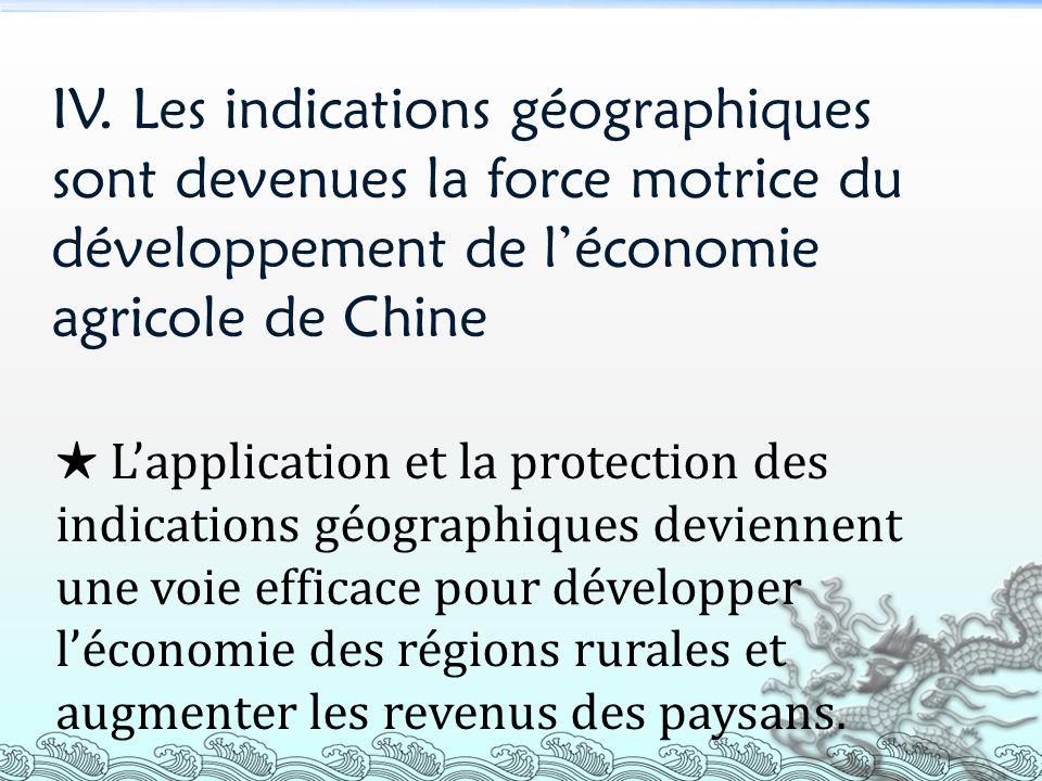 IV. Les indications géographiques sont devenues la force motrice du développement de léconomie agricole de Chine Lapplication et la protection des ind
