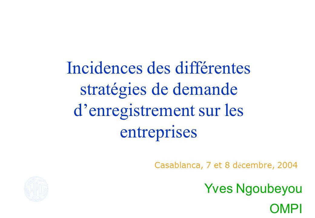 Incidences des différentes stratégies de demande denregistrement sur les entreprises Casablanca, 7 et 8 d é cembre, 2004 Yves Ngoubeyou OMPI