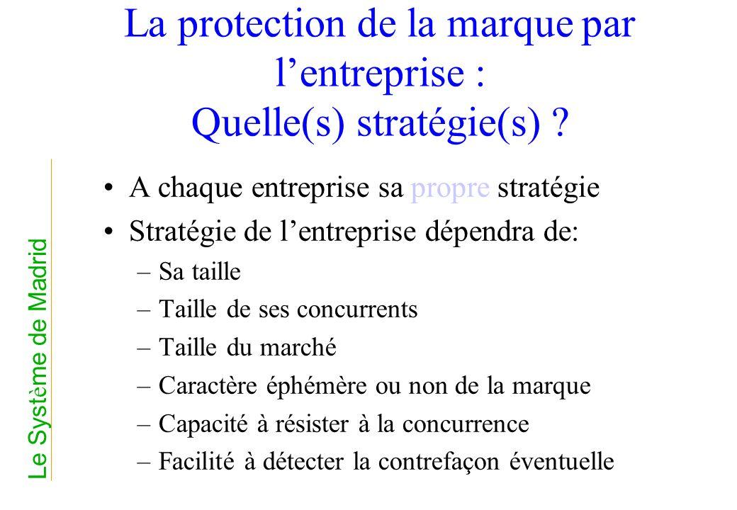 La protection de la marque par lentreprise : Quelle(s) stratégie(s) ? A chaque entreprise sa propre stratégie Stratégie de lentreprise dépendra de: –S