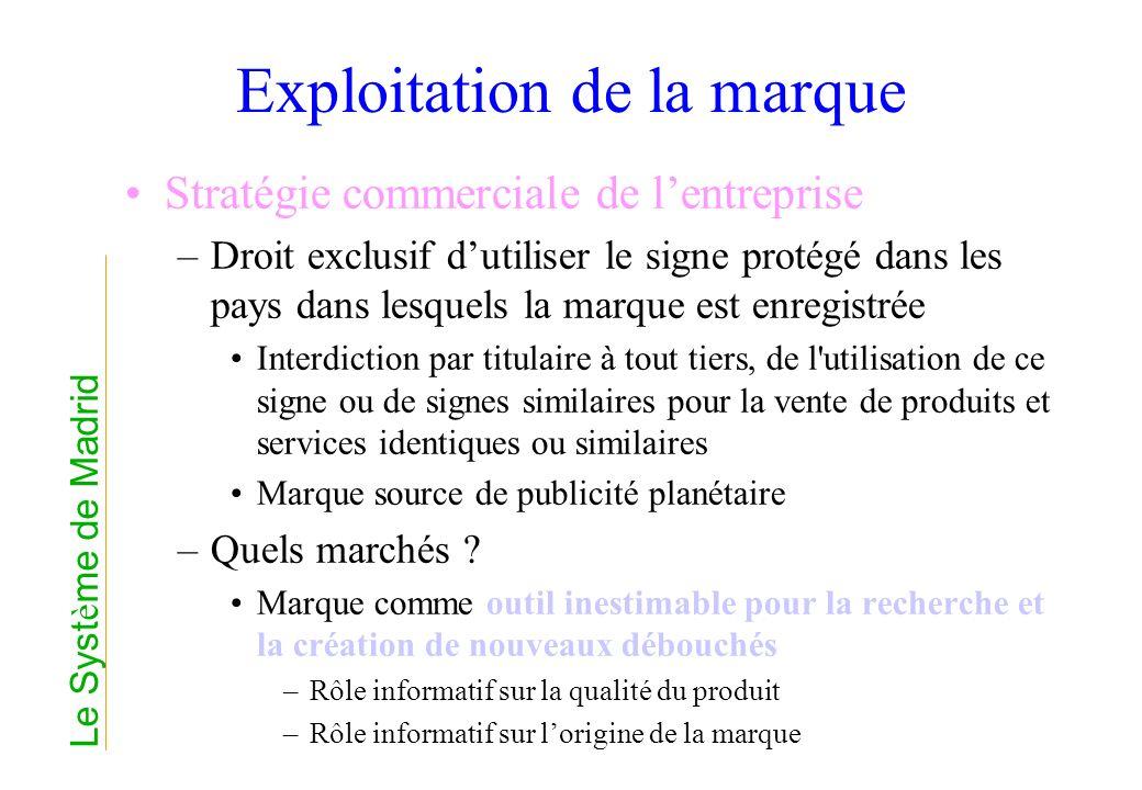 Exploitation de la marque Stratégie commerciale de lentreprise –Droit exclusif dutiliser le signe protégé dans les pays dans lesquels la marque est en