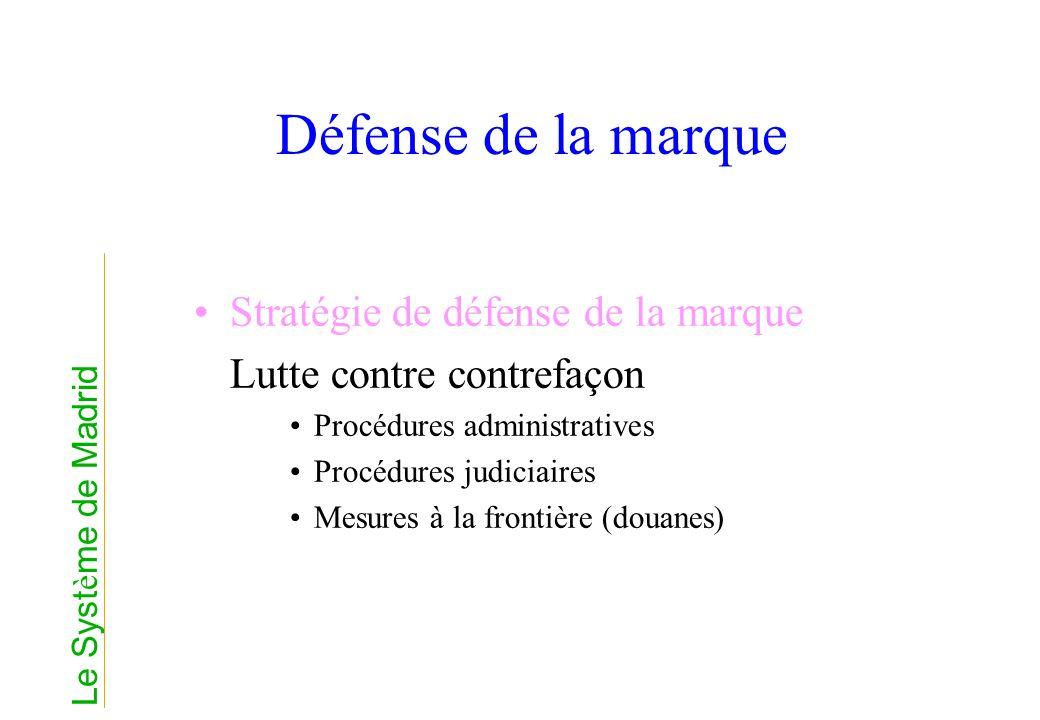 Défense de la marque Stratégie de défense de la marque Lutte contre contrefaçon Procédures administratives Procédures judiciaires Mesures à la frontiè