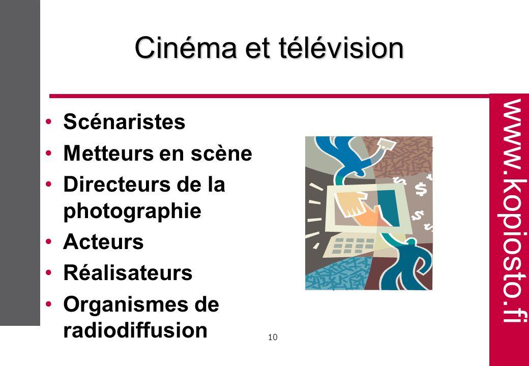 www.kopiosto.fi 10 Cinéma et télévision Scénaristes Metteurs en scène Directeurs de la photographie Acteurs Réalisateurs Organismes de radiodiffusion