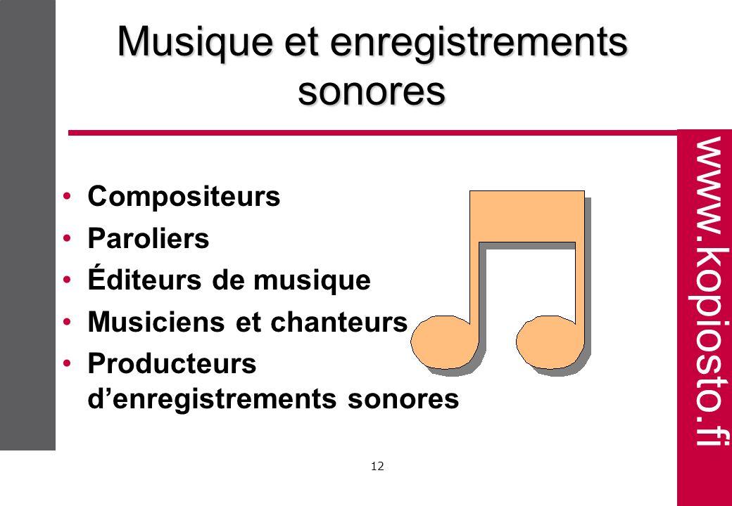 www.kopiosto.fi 12 Musique et enregistrements sonores Compositeurs Paroliers Éditeurs de musique Musiciens et chanteurs Producteurs denregistrements sonores