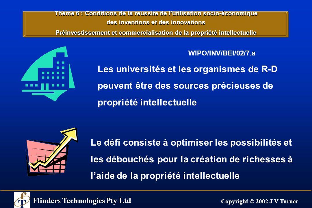 Flinders Technologies Pty Ltd Copyright © 2002 J V Turner WIPO/INV/BEI/02/7.a Les universités et les organismes de R-D peuvent être des sources précie