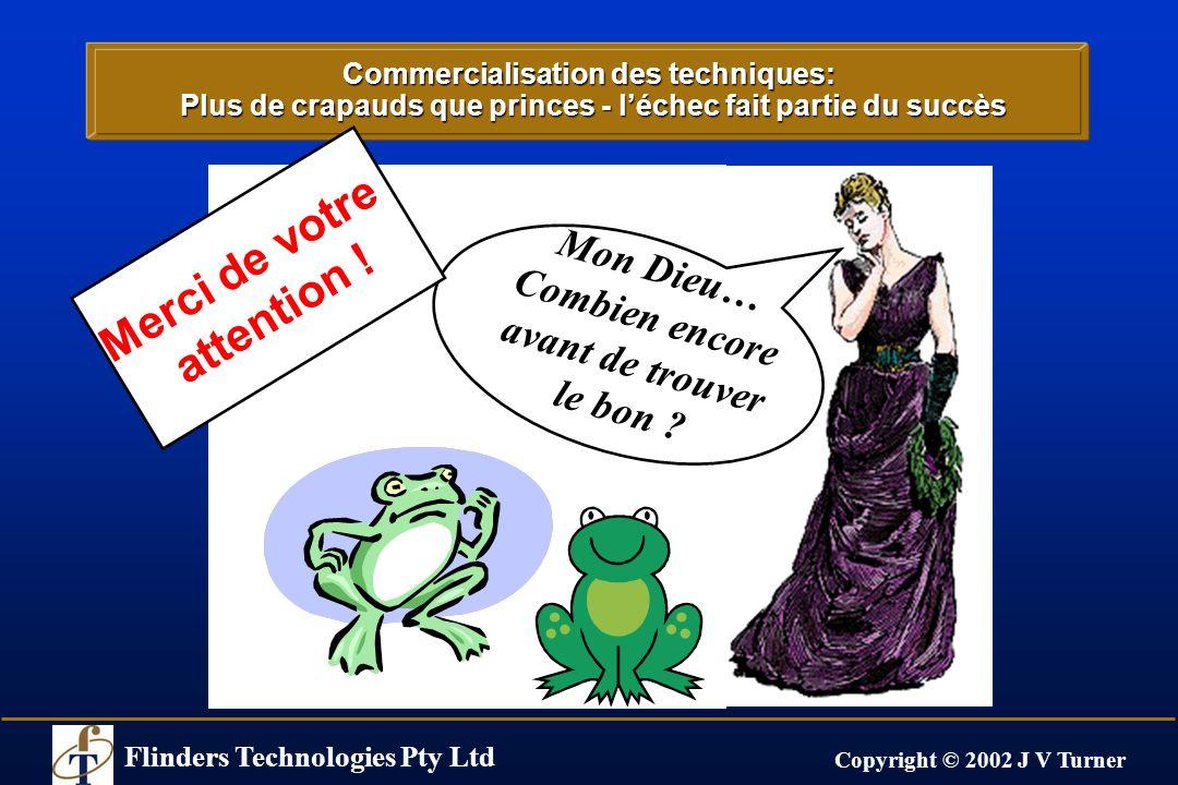 Flinders Technologies Pty Ltd Copyright © 2002 J V Turner Commercialisation des techniques: Plus de crapauds que princes - léchec fait partie du succè