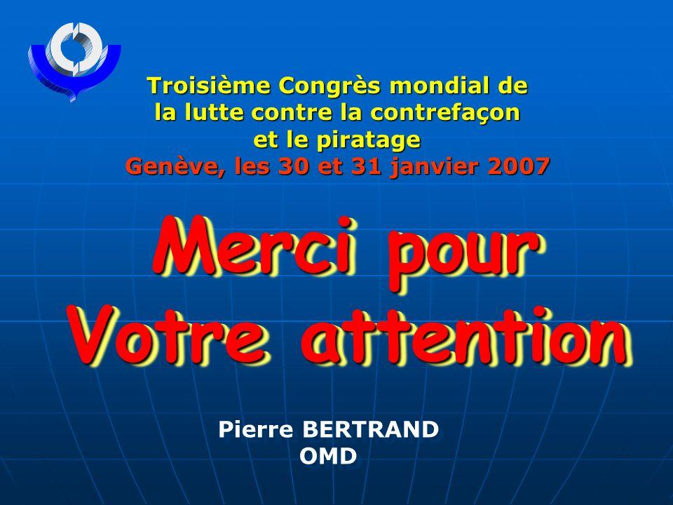 Merci pour Votre attention Troisième Congrès mondial de la lutte contre la contrefaçon et le piratage et le piratage Genève, les 30 et 31 janvier 2007