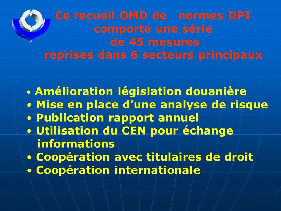 Ce recueil OMD de normes DPI comporte une série de 45 mesures reprises dans 6 secteurs principaux Amélioration législation douanière Mise en place dun