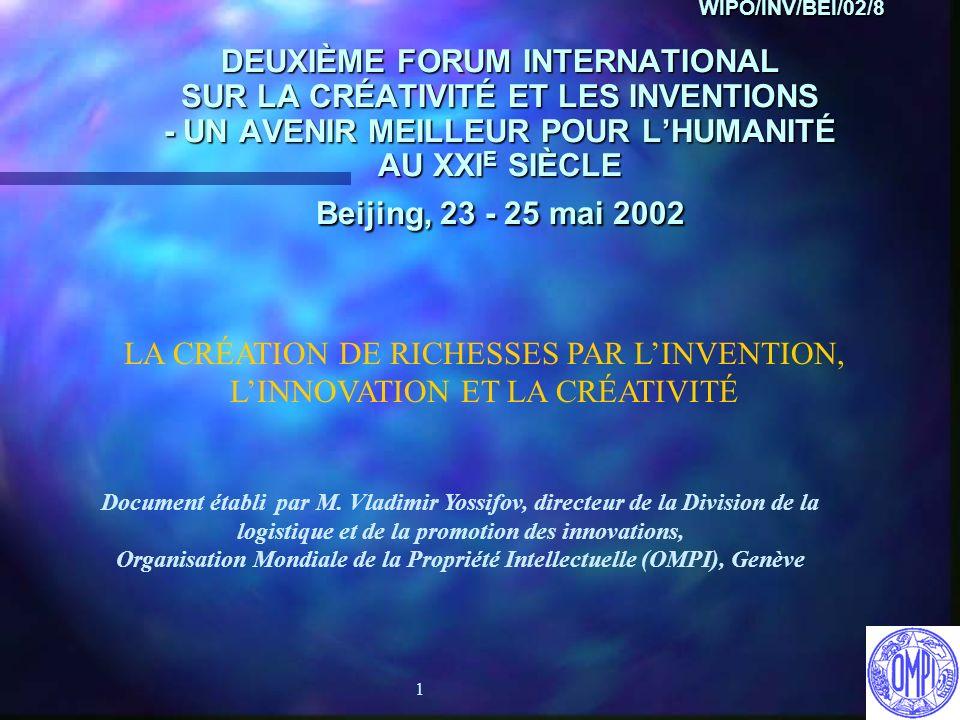 1 WIPO/INV/BEI/02/8 DEUXIÈME FORUM INTERNATIONAL SUR LA CRÉATIVITÉ ET LES INVENTIONS - UN AVENIR MEILLEUR POUR LHUMANITÉ AU XXI E SIÈCLE Beijing, 23 -