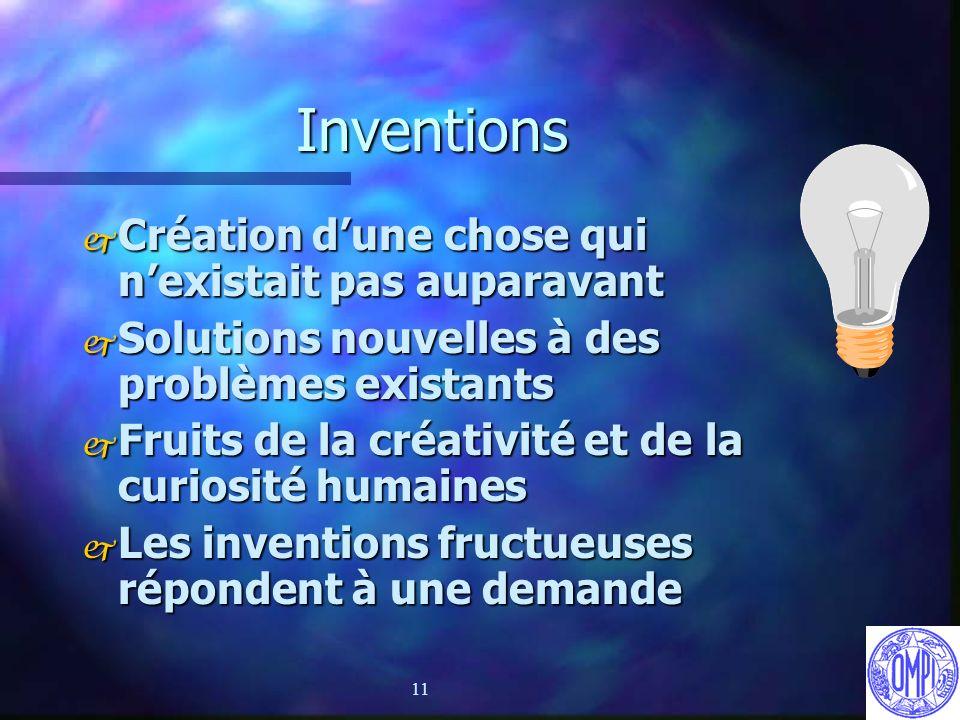 11 Inventions j Création dune chose qui nexistait pas auparavant j Solutions nouvelles à des problèmes existants j Fruits de la créativité et de la cu