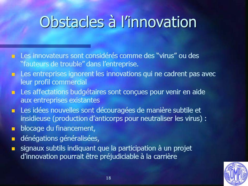 18 Obstacles à linnovation n n Les innovateurs sont considérés comme des virus ou des fauteurs de trouble dans lentreprise. n n Les entreprises ignore