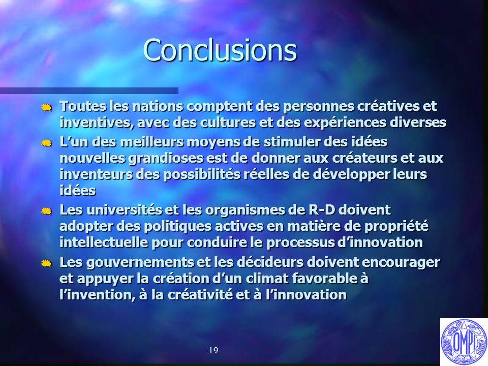 19 Conclusions Toutes les nations comptent des personnes créatives et inventives, avec des cultures et des expériences diverses Toutes les nations com