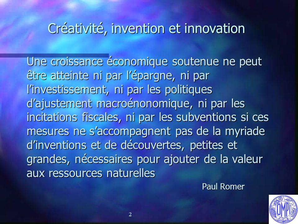 2 Créativité, invention et innovation Une croissance économique soutenue ne peut être atteinte ni par lépargne, ni par linvestissement, ni par les pol