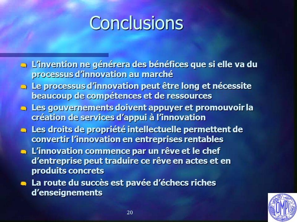 20 Conclusions Linvention ne générera des bénéfices que si elle va du processus dinnovation au marché Linvention ne générera des bénéfices que si elle