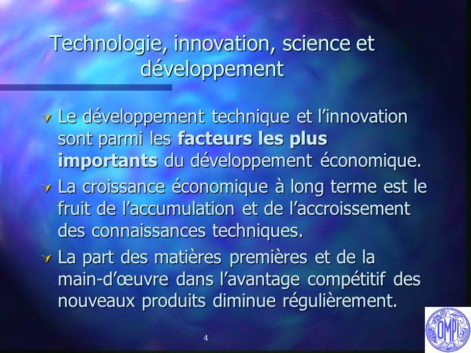 4 Technologie, innovation, science et développement Ú Le développement technique et linnovation sont parmi les facteurs les plus importants du dévelop