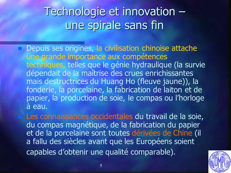 5 Technologie et innovation – une spirale sans fin n n Depuis ses origines, la civilisation chinoise attache une grande importance aux compétences tec