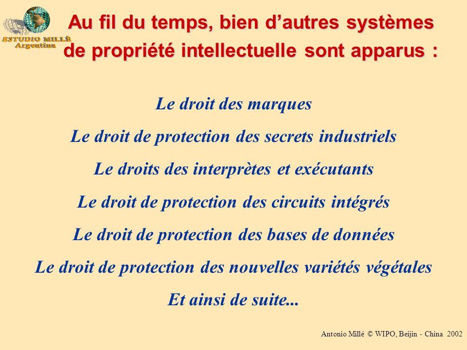 Antonio Millé © WIPO, Beijin - China 2002 Le droit des marques Le droit de protection des secrets industriels Le droits des interprètes et exécutants