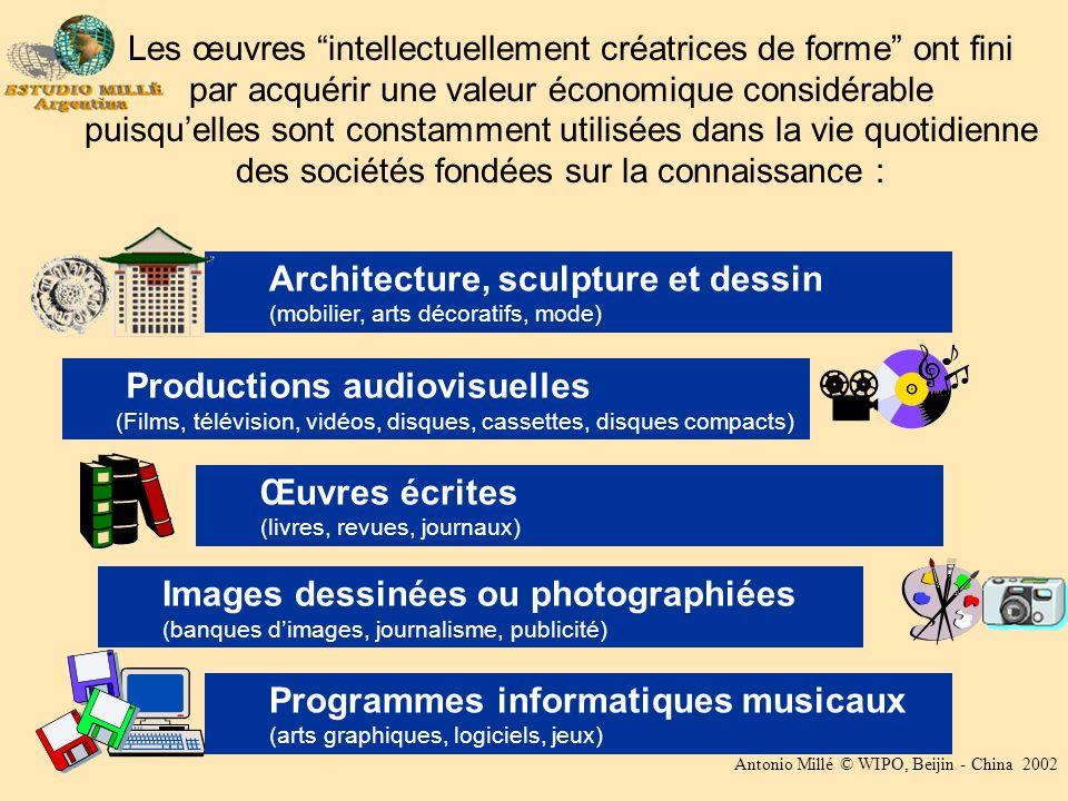 Antonio Millé © WIPO, Beijin - China 2002 Les œuvres intellectuellement créatrices de forme ont fini par acquérir une valeur économique considérable p