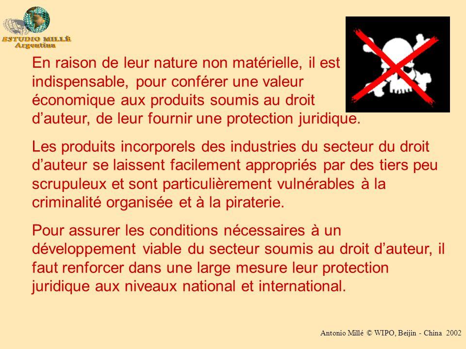 Antonio Millé © WIPO, Beijin - China 2002 En raison de leur nature non matérielle, il est indispensable, pour conférer une valeur économique aux produits soumis au droit dauteur, de leur fournir une protection juridique.
