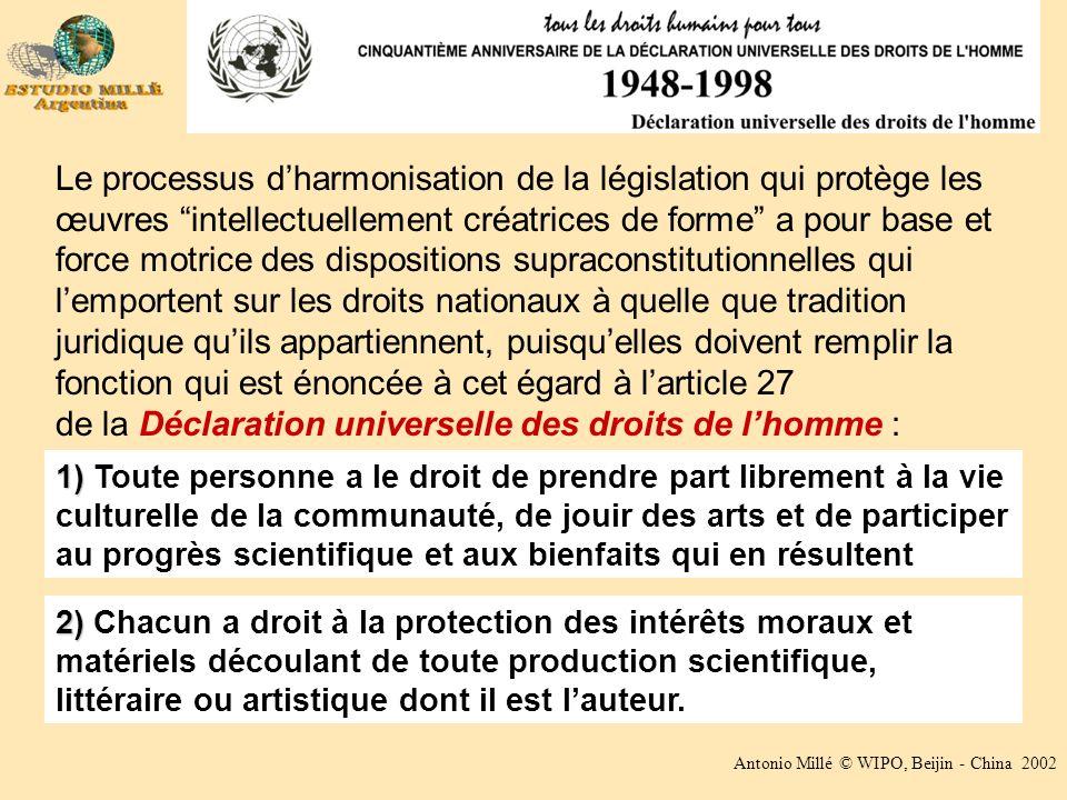 Antonio Millé © WIPO, Beijin - China 2002 Le processus dharmonisation de la législation qui protège les œuvres intellectuellement créatrices de forme