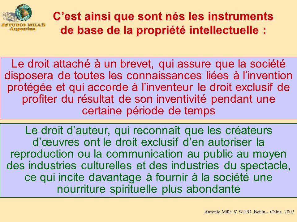 Antonio Millé © WIPO, Beijin - China 2002 Cest ainsi que sont nés les instruments de base de la propriété intellectuelle : Le droit attaché à un breve