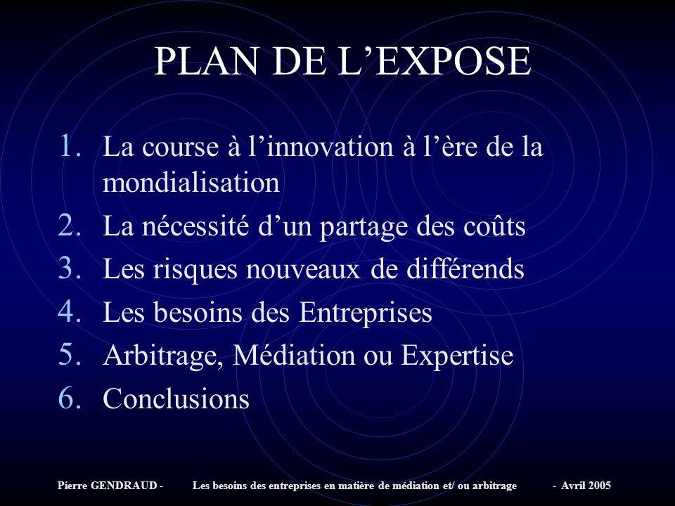 Pierre GENDRAUD - Les besoins des entreprises en matière de médiation et/ ou arbitrage - Avril 2005 PLAN DE LEXPOSE 1.