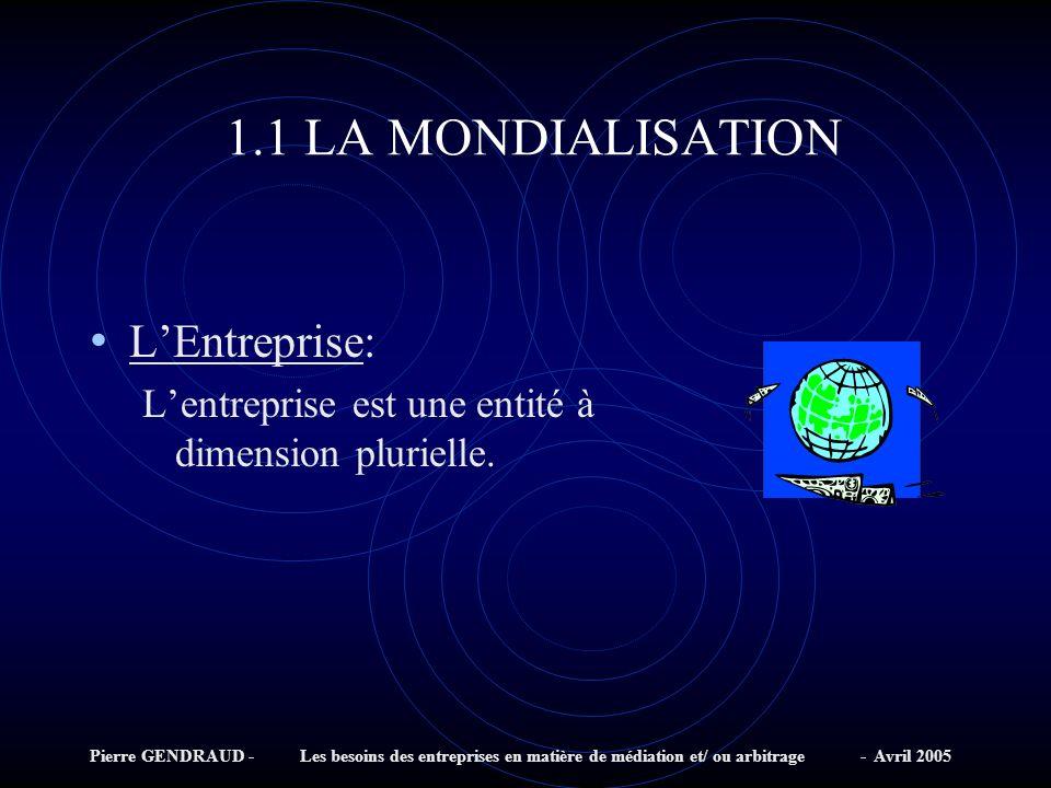 Pierre GENDRAUD - Les besoins des entreprises en matière de médiation et/ ou arbitrage - Avril 2005 1.1 LA MONDIALISATION LEntreprise: Lentreprise est une entité à dimension plurielle.