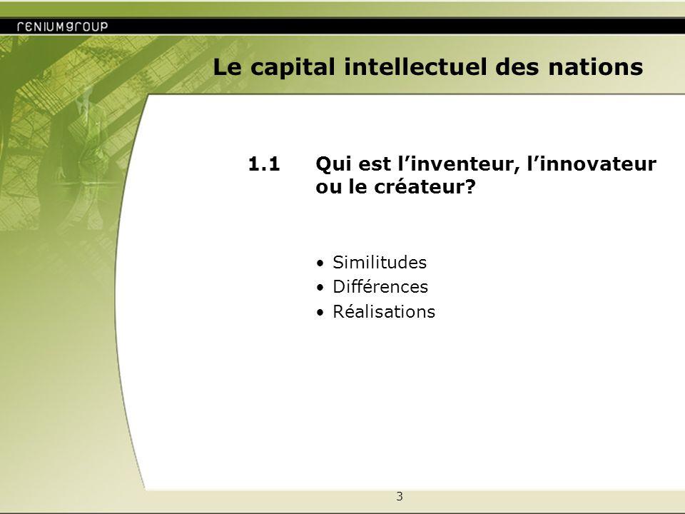 3 Le capital intellectuel des nations 1.1 Qui est linventeur, linnovateur ou le créateur.