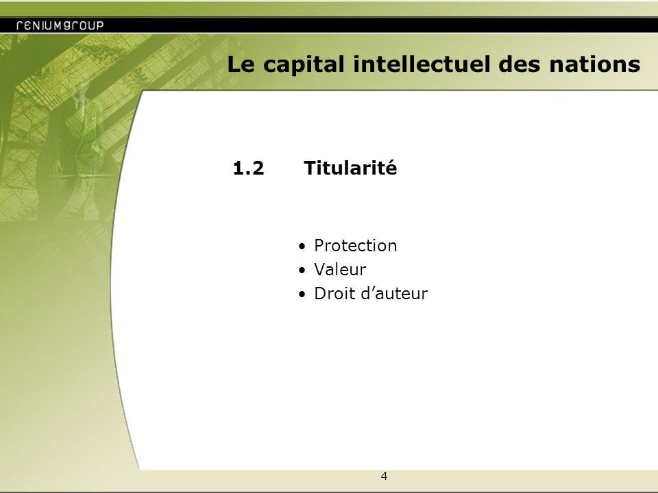 5 Le capital intellectuel des nations 1.3 Avantages Vente, prix Commission Redevances Participation Partage