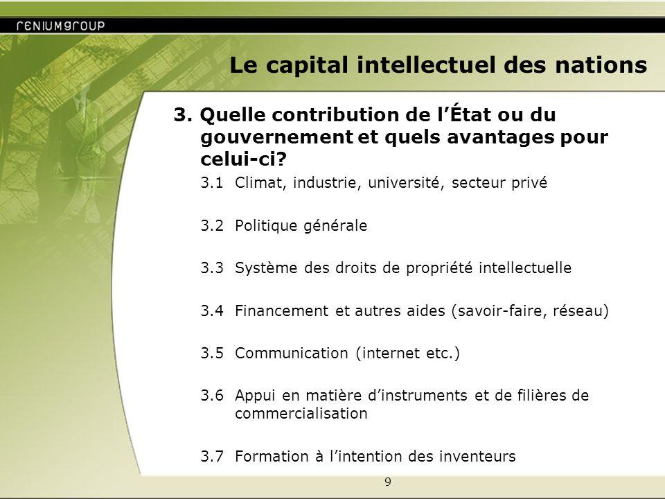 9 Le capital intellectuel des nations 3. Quelle contribution de lÉtat ou du gouvernement et quels avantages pour celui-ci? 3.1 Climat, industrie, univ