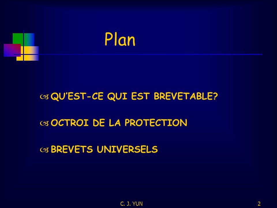 C. J. YUN2 Plan QUEST-CE QUI EST BREVETABLE? OCTROI DE LA PROTECTION BREVETS UNIVERSELS