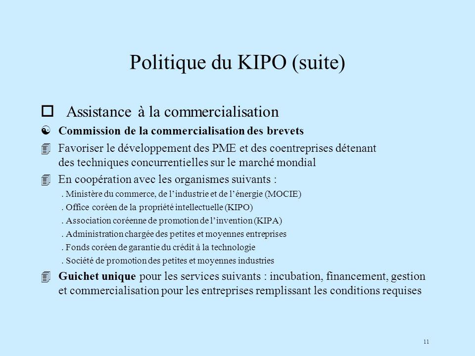 11 Politique du KIPO (suite) o Assistance à la commercialisation [Commission de la commercialisation des brevets 4Favoriser le développement des PME et des coentreprises détenant des techniques concurrentielles sur le marché mondial 4En coopération avec les organismes suivants :.