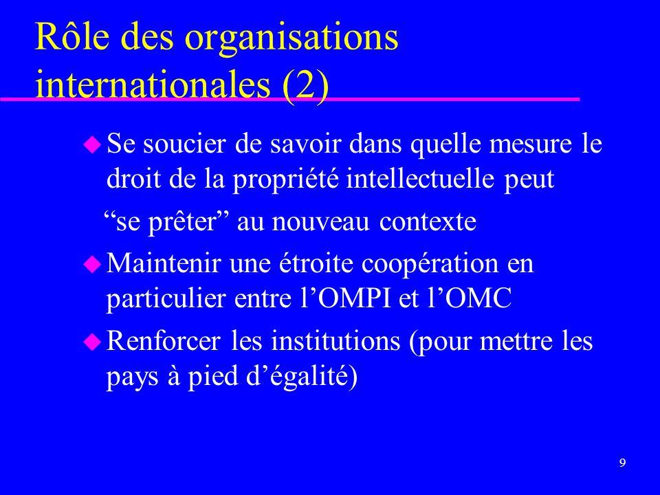 8 Rôle des organisations internationales, en particulier lOMPI u Sattacher à la justification et aux conséquences - favorables et fâcheuses - dune pro
