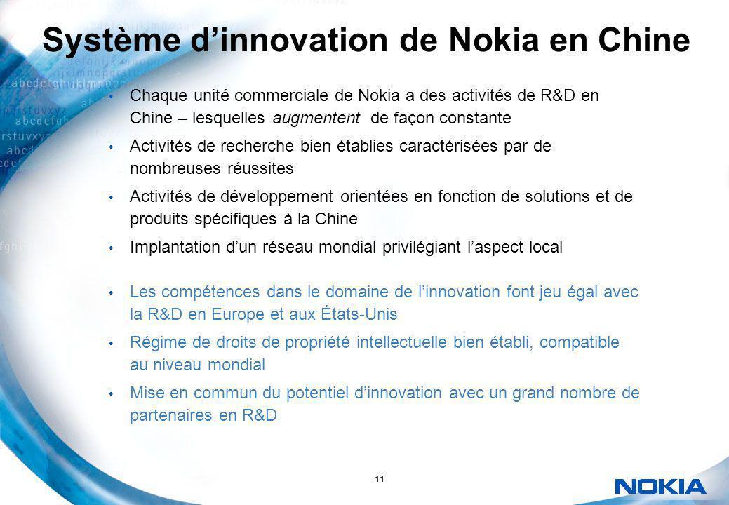 11 Système dinnovation de Nokia en Chine Chaque unité commerciale de Nokia a des activités de R&D en Chine – lesquelles augmentent de façon constante