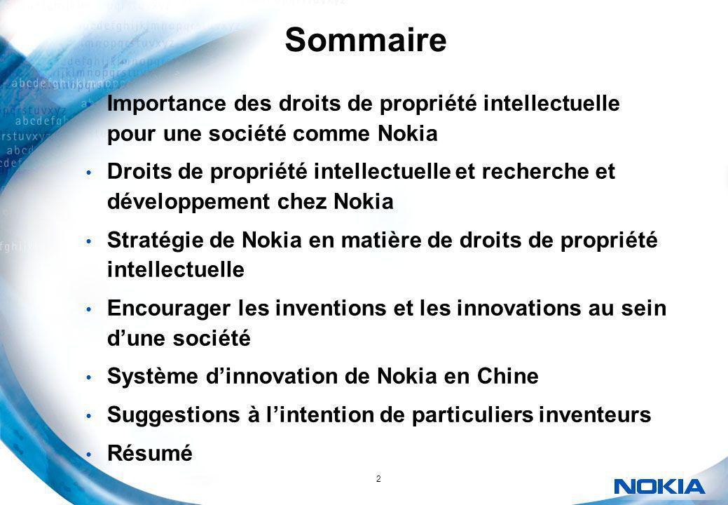 2 Sommaire Importance des droits de propriété intellectuelle pour une société comme Nokia Droits de propriété intellectuelle et recherche et développe