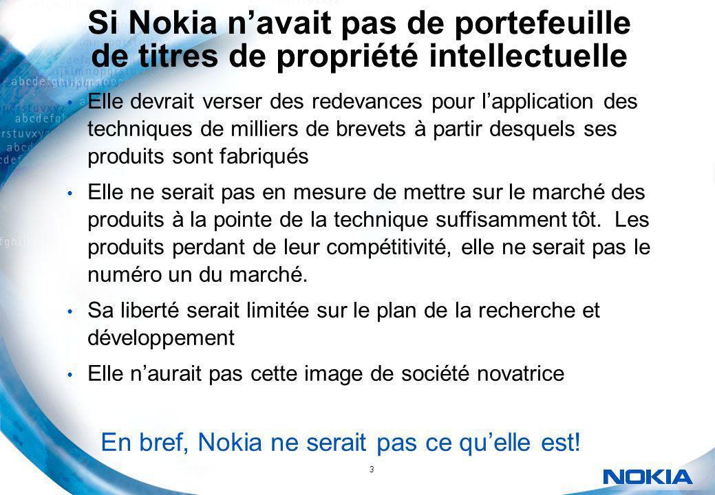 3 Si Nokia navait pas de portefeuille de titres de propriété intellectuelle Elle devrait verser des redevances pour lapplication des techniques de mil