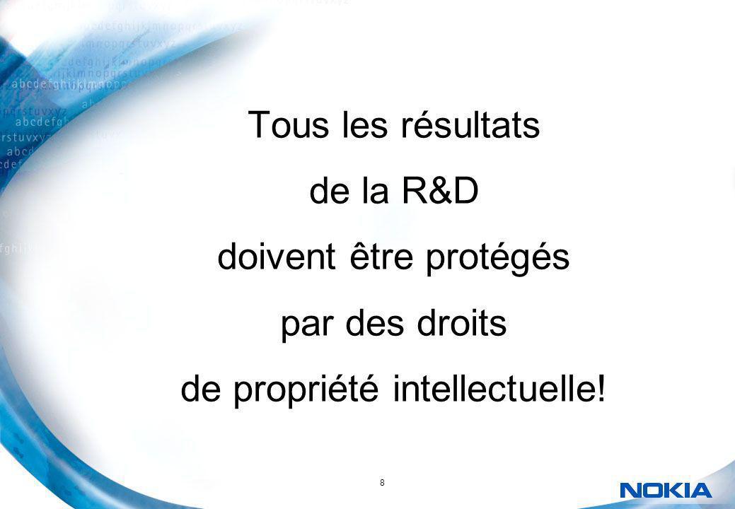 8 Tous les résultats de la R&D doivent être protégés par des droits de propriété intellectuelle!
