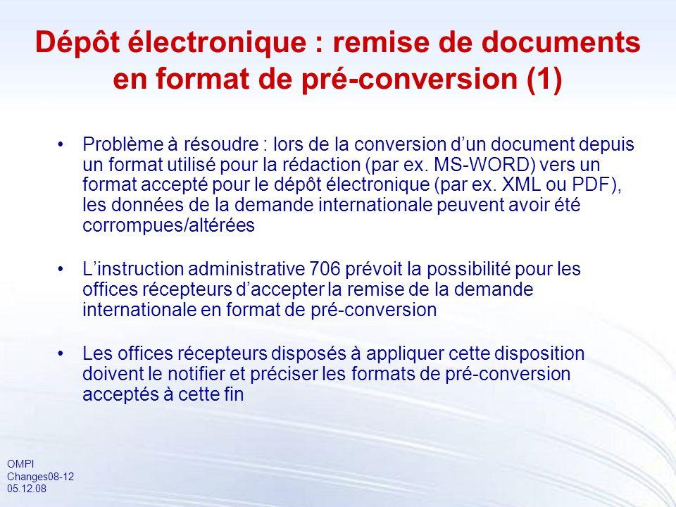 OMPI Changes08-12 05.12.08 Dépôt électronique : remise de documents en format de pré-conversion (1) Problème à résoudre : lors de la conversion dun document depuis un format utilisé pour la rédaction (par ex.