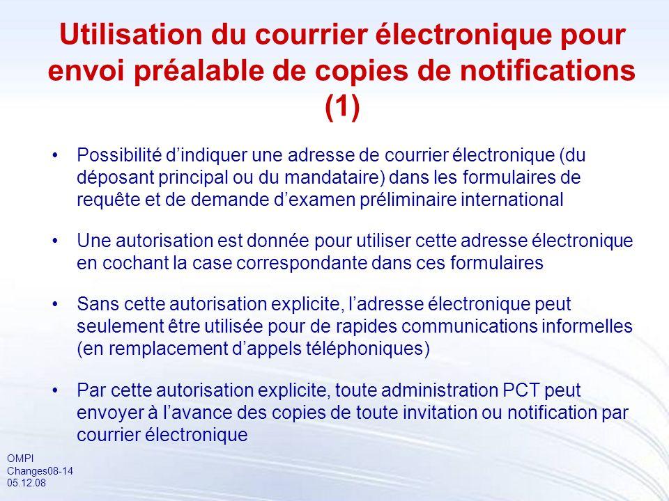 OMPI Changes08-14 05.12.08 Utilisation du courrier électronique pour envoi préalable de copies de notifications (1) Possibilité dindiquer une adresse