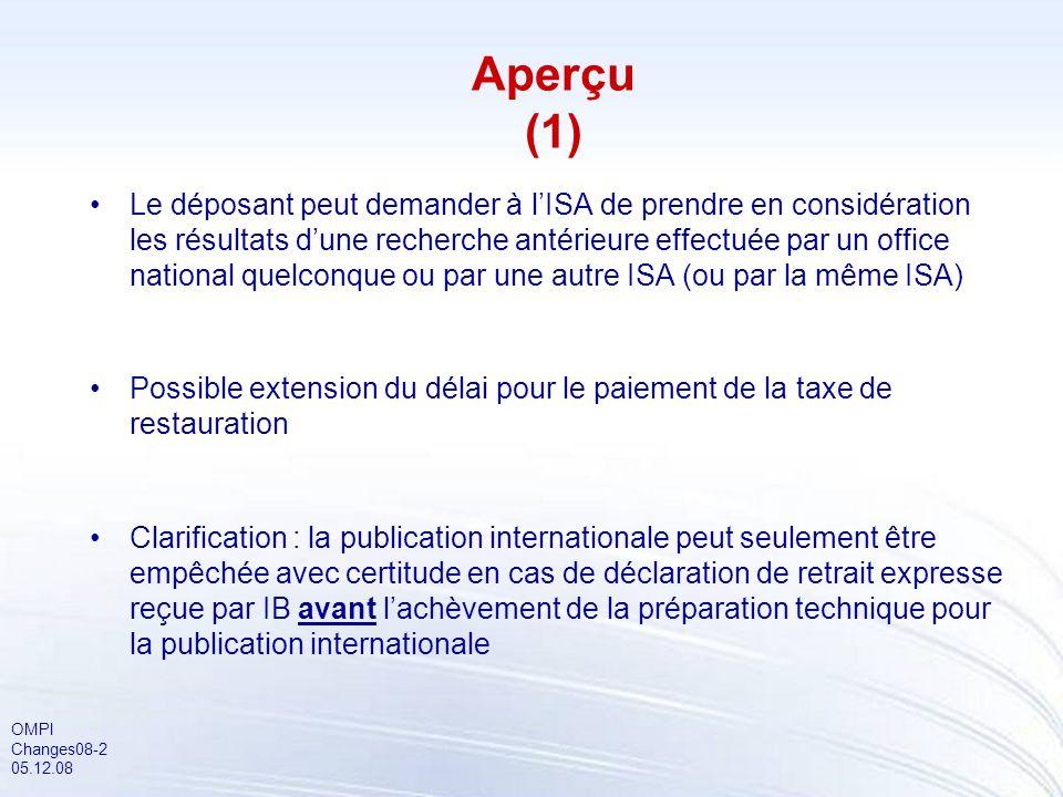 OMPI Changes08-13 05.12.08 Dépôt électronique : remise de documents en format de pré-conversion (2) Si un déposant réalise quune erreur est survenue lors de la conversion, il a la possibilité de demander à loffice récepteur de corriger la demande internationale dans un délai de 30 mois à compter de la date de priorité Le logiciel à utiliser pour le dépôt des demandes internationales auprès doffices récepteurs qui acceptent que soient joints des fichiers en format de pré-conversion devra prévoir cette possibilité