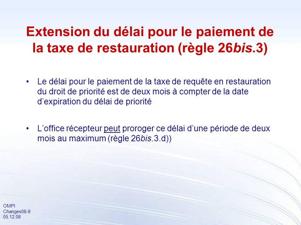 OMPI Changes08-9 05.12.08 Extension du délai pour le paiement de la taxe de restauration (règle 26bis.3) Le délai pour le paiement de la taxe de requê