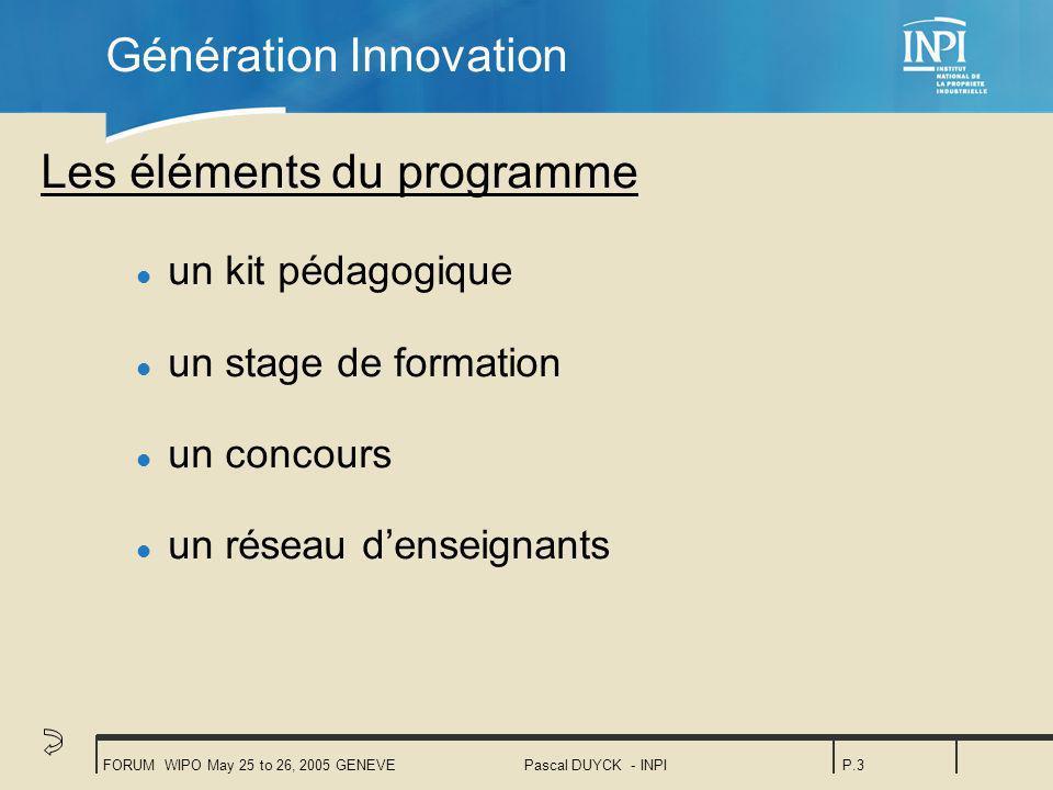 FORUM WIPO May 25 to 26, 2005 GENEVEPascal DUYCK - INPIP.3 Génération Innovation Les éléments du programme l un kit pédagogique l un stage de formation l un concours l un réseau denseignants