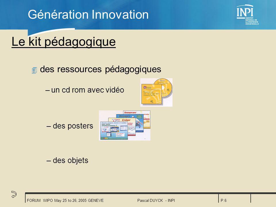 FORUM WIPO May 25 to 26, 2005 GENEVEPascal DUYCK - INPIP.6 Le kit pédagogique 4 des ressources pédagogiques –un cd rom avec vidéo Génération Innovation – des posters – des objets