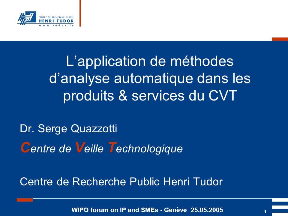 WIPO forum on IP and SMEs - Genève 25.05.2005 1 Lapplication de méthodes danalyse automatique dans les produits & services du CVT Dr.