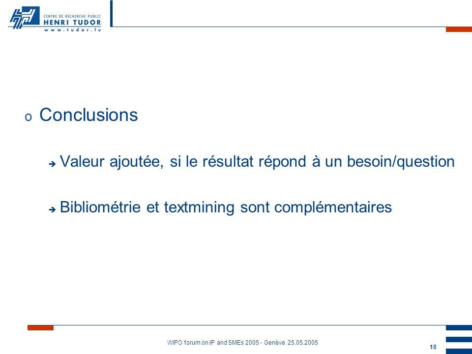 WIPO forum on IP and SMEs 2005 - Genève 25.05.2005 18 o Conclusions è Valeur ajoutée, si le résultat répond à un besoin/question è Bibliométrie et textmining sont complémentaires