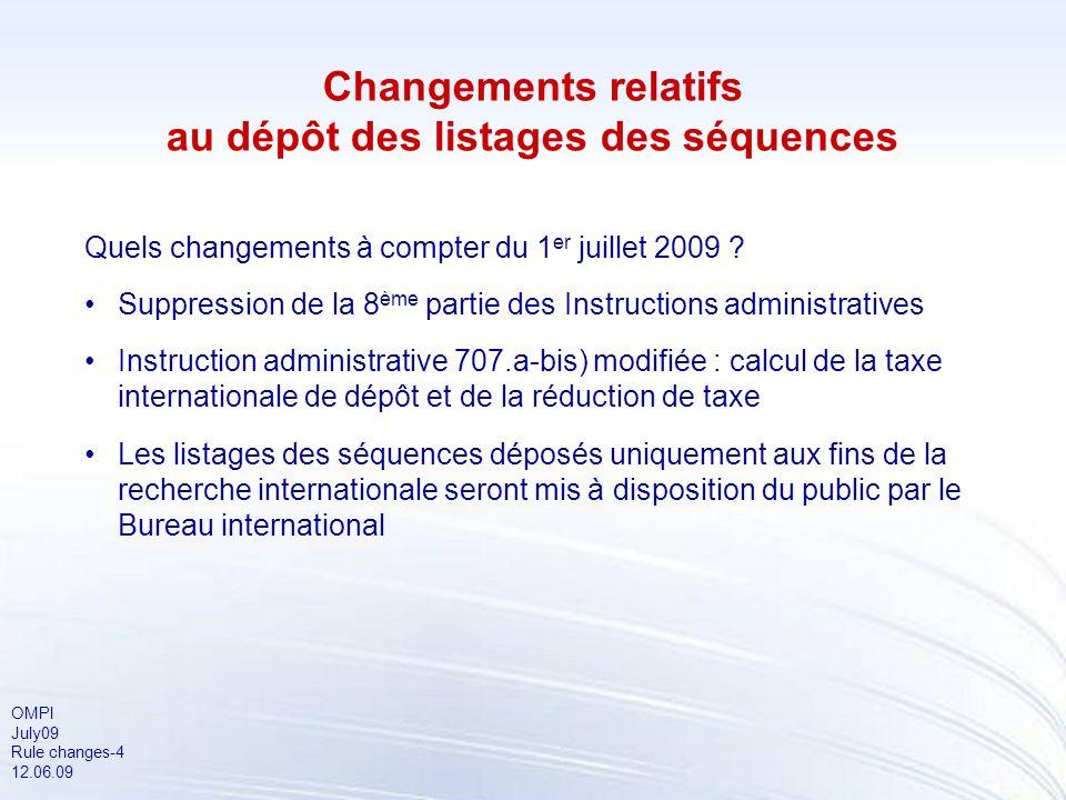 OMPI July09 Rule changes-4 12.06.09 Changements relatifs au dépôt des listages des séquences Quels changements à compter du 1 er juillet 2009 ? Suppre